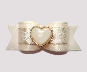 "#2691 - 5/8"" Dog Bow - Gorgeous Cream and Gold Heart"