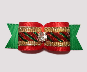 "#2692 - 5/8"" Dog Bow - Candy Cane Sparkle, Red/Gold/Green"