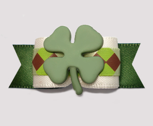 "#2699 - 5/8"" Dog Bow - St Patrick's Day Shamrock, Cream/Green"