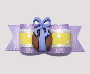 "#2700 - 5/8"" Dog Bow - Easter Egg Ruffle, Yellow/Lavender"