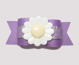"#2705 - 5/8"" Dog Bow - Bloomin' Pretty Daisy on Lovely Lavender"