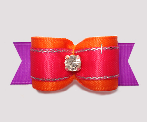 "#2706 - 5/8"" Dog Bow - Beautiful Brights, Orange/Pink/Orchid"