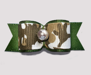 "#2707 - 5/8"" Dog Bow - Camouflage Print on Army Green, Silver"