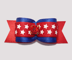 "#2708 - 5/8"" Dog Bow - Patriotic Stars, Red/White/Blue"