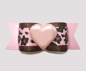 "#2710 - 5/8"" Dog Bow - Pretty Wild at Heart, Pink Leopard"