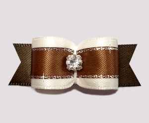 "#2712 - 5/8"" Dog Bow - Rich Cream & Chocolate with Sparkle"