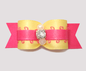 "#2715 - 5/8"" Dog Bow - Summery Yellow/Hot Pink, Rhinestone"