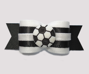 "#2718 - 5/8"" Dog Bow - Classic Black and White, Soccer Ball"