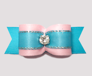 "#2720- 5/8"" Dog Bow- Pink/Electric Blue with Sparkle, Rhinestone"