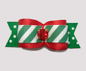 "#2723 - 5/8"" Dog Bow- Candy Cane Stripes 'n Dots, Red Rhinestone"