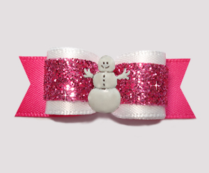 "#2724 - 5/8"" Dog Bow - Girly White & Pink Glitter, Snowman"