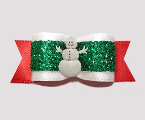 "#2726- 5/8"" Dog Bow - Festive Glamor, Red/Green Glitter, Snowman"