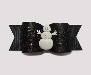 "#2730 - 5/8"" Dog Bow - Gorgeous Glitter, Classic Black, Snowman"