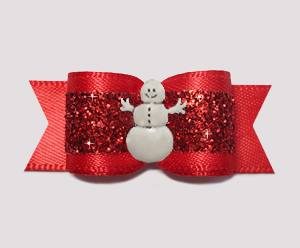 "#2731 - 5/8"" Dog Bow - Gorgeous Glitter, Classic Red, Snowman"