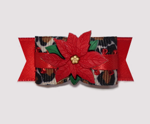 "#2734 - 5/8"" Dog Bow - Chic & Festive! Leopard/Red Poinsettia"
