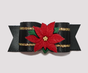 "#2736- 5/8"" Dog Bow- Gorgeous Black & Gold Satin, Red Poinsettia"