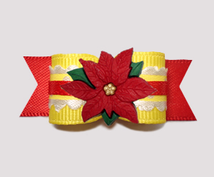 "#2737- 5/8"" Dog Bow - Holiday Sweetness, Yellow/Red, Poinsettia"