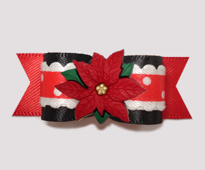 "#2738 - 5/8"" Dog Bow - Holiday Ruffle, Red/Black, Poinsettia"