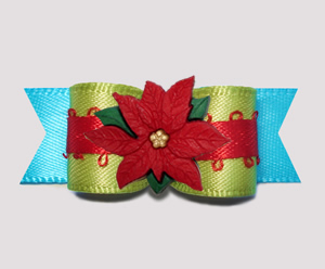 "#2739 - 5/8"" Dog Bow - Unique Blue/Kiwi/Red, Holiday Poinsettia"