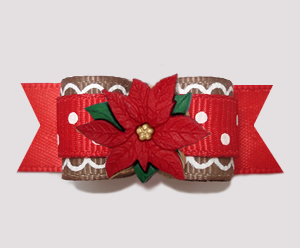 "#2740- 5/8"" Dog Bow - Sweet Gingerbread Sprinkle, Red Poinsettia"