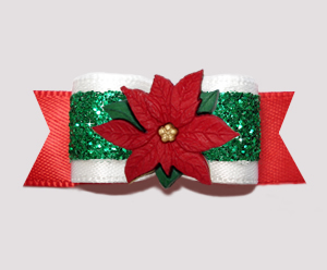 "#2742 - 5/8"" Dog Bow- Festive Holiday Glamor, Poinsettia"