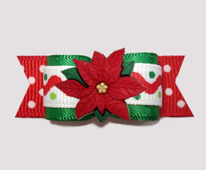 "#2743 - 5/8"" Dog Bow - Fun & Festive Christmas Poinsettia"