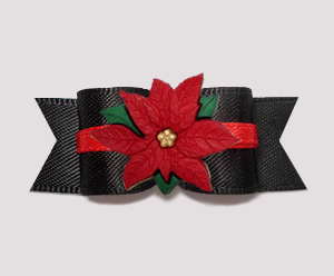 "#2744- 5/8"" Dog Bow - Classic Black with Red Lining, Poinsettia"