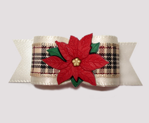 "#2746 - 5/8"" Dog Bow - Designer Plaid, Cream Satin, Poinsettia"