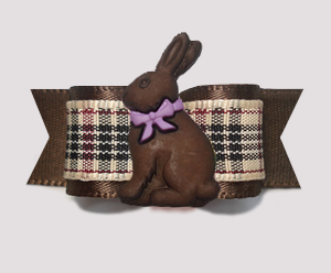 "#2759- 5/8"" Dog Bow- Designer Plaid, Rich Brown, Chocolate Bunny"