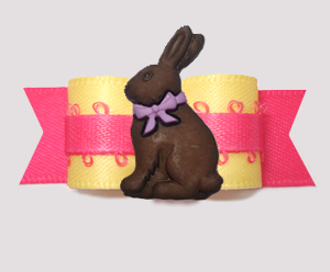 "#2768 - 5/8"" Dog Bow - Spring Yellow/Hot Pink, Easter Bunny"