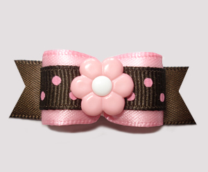 "#2769 - 5/8"" Dog Bow - Chocolate/Strawberry Sprinkle, Pink Daisy"