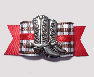 "#2771 - 5/8"" Dog Bow - Western Boot, Brown/White Gingham w/Red"