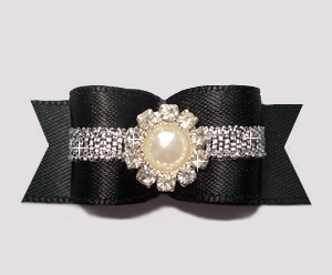 "#2773 - 5/8"" Dog Bow - Gorgeous, Classic Black/Silver Elegance"