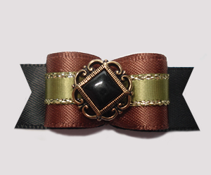 "#2776 - 5/8"" Dog Bow - Midnight Espresso and Sage, Victorian"