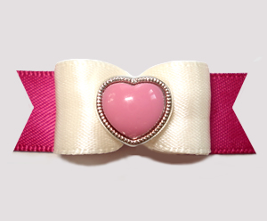"#2778 - 5/8"" Dog Bow - Raspberry & Cream with Heart"