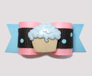 "#2783 - 5/8"" Dog Bow - Little Cupcake Sprinkle, Pink/Blue"
