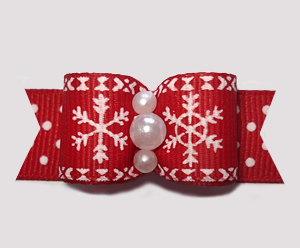 "#2784 - 5/8"" Dog Bow - Let It Snow! Red/White Snowflakes/Dots"
