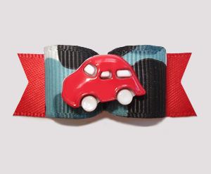 "#2786 - 5/8"" Dog Bow - Blue/Black Camo with Red Car, Vroom!"