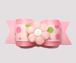 "#2787 - 5/8"" Dog Bow - Pink/Lime Bubble Dots, Pink Daisy"