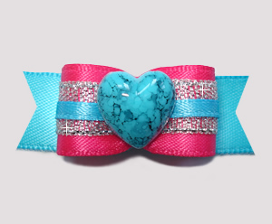 "#2788 - 5/8"" Dog Bow - Hot Pink/Electric Blue Glam, Marble Heart"