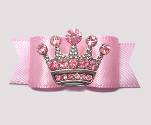 "#2789- 5/8"" Dog Bow - Baby Pink Satin with Pink Rhinestone Crown"