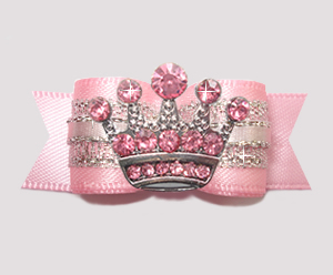 "#2792 - 5/8"" Dog Bow- Gorgeous Pink Princess Sparkle, Pink Crown"