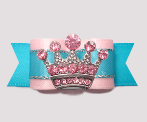 "#2796 - 5/8"" Dog Bow - Pink/Electric Blue, Pink Rhinestone Crown"