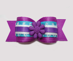 "#2801 - 5/8"" Dog Bow - Vibrant Purple/Electric Blue, Flower"