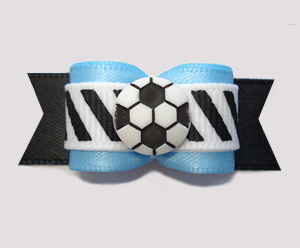 "#2802 - 5/8"" Dog Bow - Soccer, Blue/Black/White, Stripes"