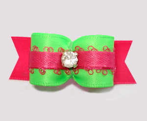 "#2803 - 5/8"" Dog Bow - Beautiful Brights, Neon Green/Hot Pink"