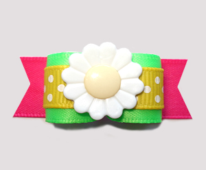 "#2804 - 5/8"" Dog Bow - Neon Green/Yellow/Hot Pink, Daisy"