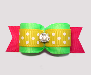 "#2806 - 5/8"" Dog Bow - Neon Green/Yellow/Pink, Rhinestone"