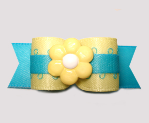 "#2808 - 5/8"" Dog Bow - Sunny Yellow/Electric Blue, Yellow Flower"