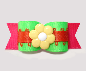 "#2809 - 5/8"" Dog Bow - Neon Green/Orange/Hot Pink, Yellow Flower"